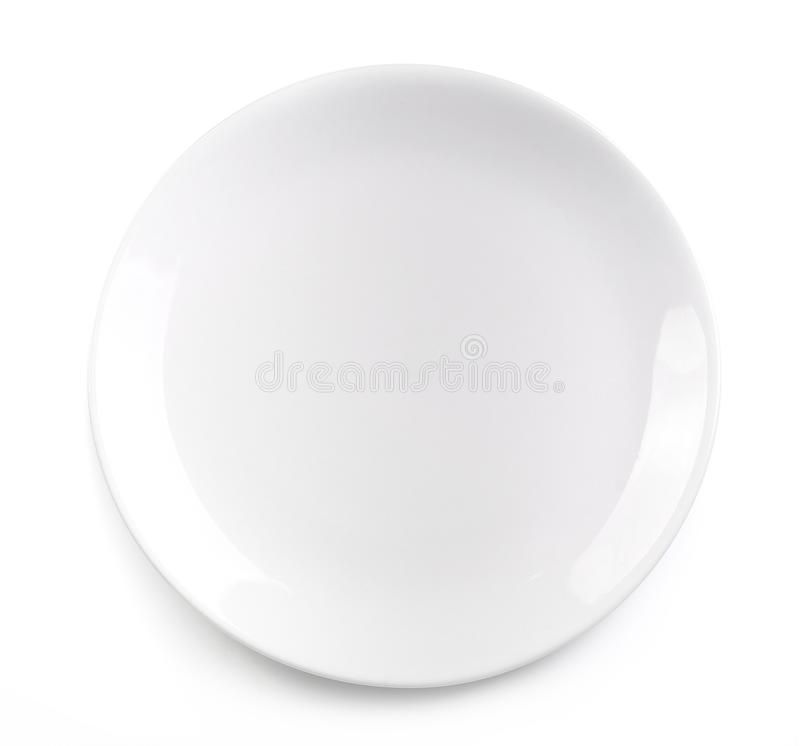Empty plate isolated on white background royalty free stock images