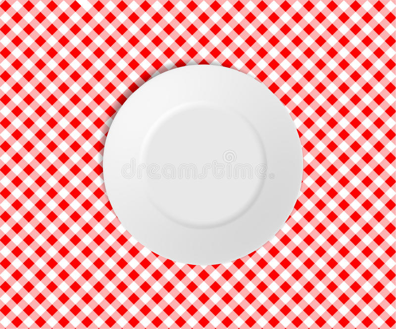 Empty plate on a red checked tablecloth vector illustration