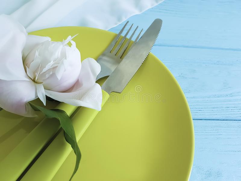 Empty plate serving dining flower birthday catering template romantic serving catering concept peony template. Empty plate flower peony romantic blue wooden stock images