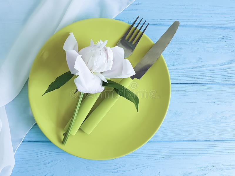 Empty plate serving dining flower elegant birthday catering template romantic serving catering concept peony template. Empty plate flower peony romantic blue stock image