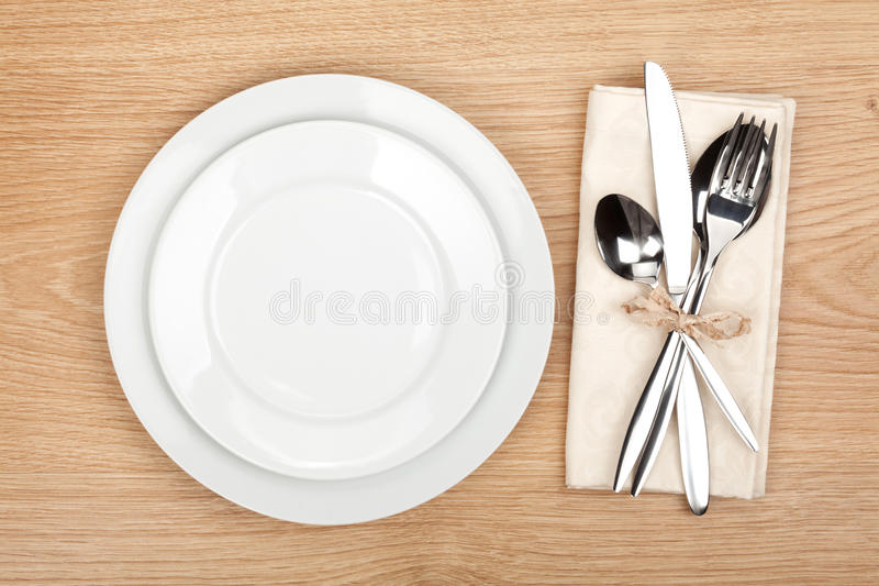 Empty Plate With Fork And Knife Stock Image Image Of