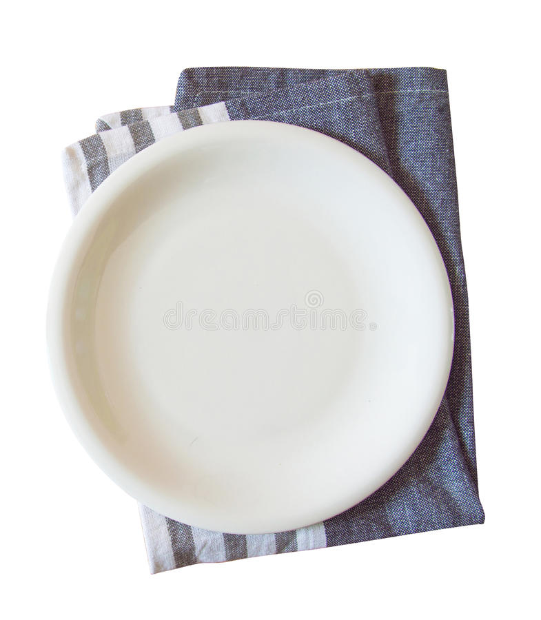Empty plate and towel isolated stock photos