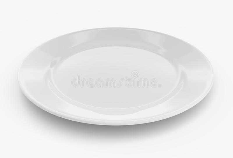 Empty plate on white stock illustration