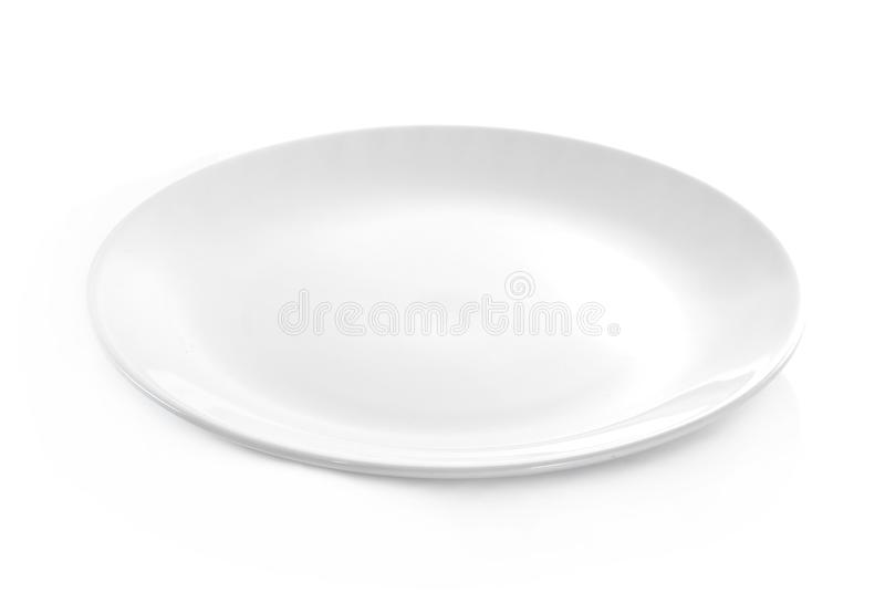 Empty plate on white background royalty free stock photography