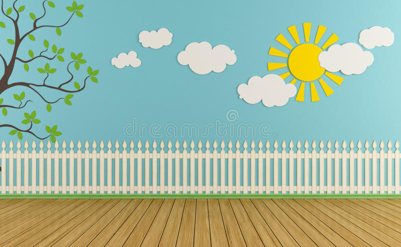 Empty play room. Empty child room with wooden fence,sun,clouds and grass on blue wall - rendering