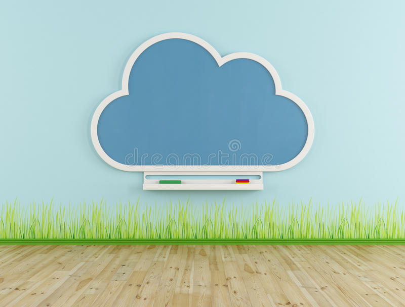 Empty playroom with cloud chalkboard stock illustration