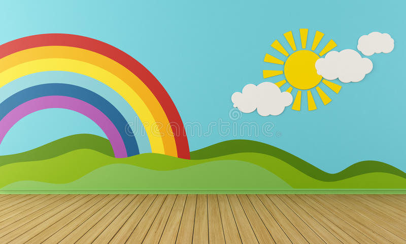 Empty Playroom with rainbow and green hills. Empty Playroom with rainbow,green hills, sun and clouds on the wall- rendering royalty free illustration