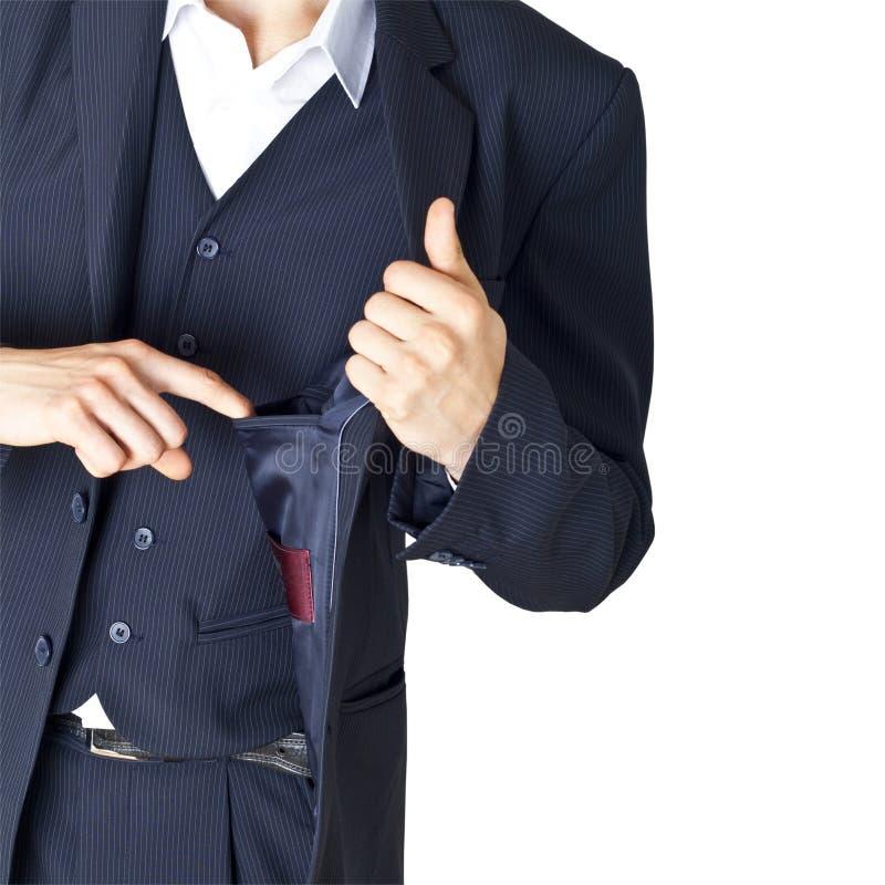 Empty pocket of a jacket royalty free stock photos