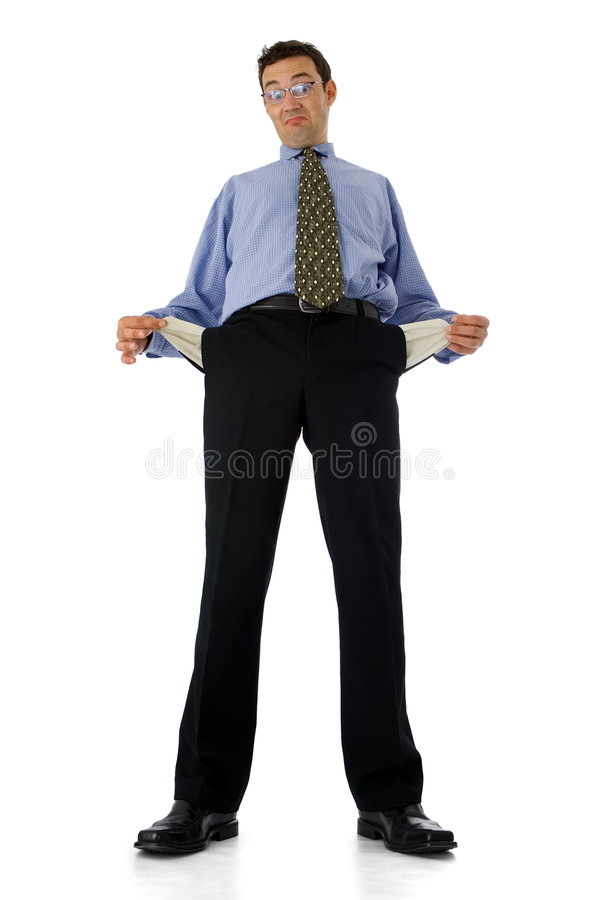Empty pockets. Poor businessman showing his empty pockets royalty free stock images