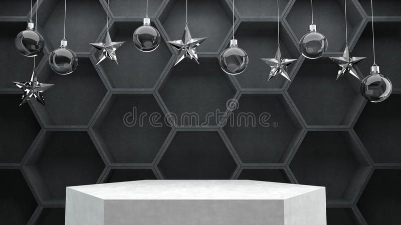 Empty podium on hexagon pattern background with hanging crystal balls and stars ornaments. vector illustration