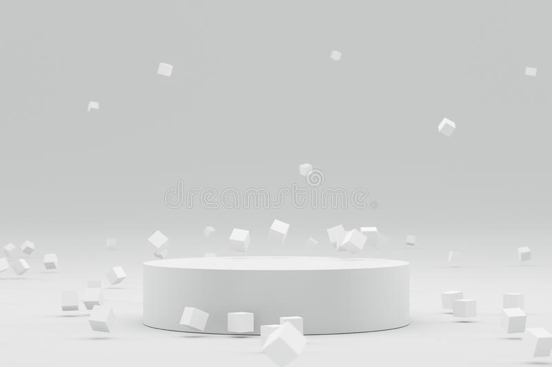 Empty podium or pedestal display on white background with abstract geometric and futuristic concept. Blank product shelf standing vector illustration