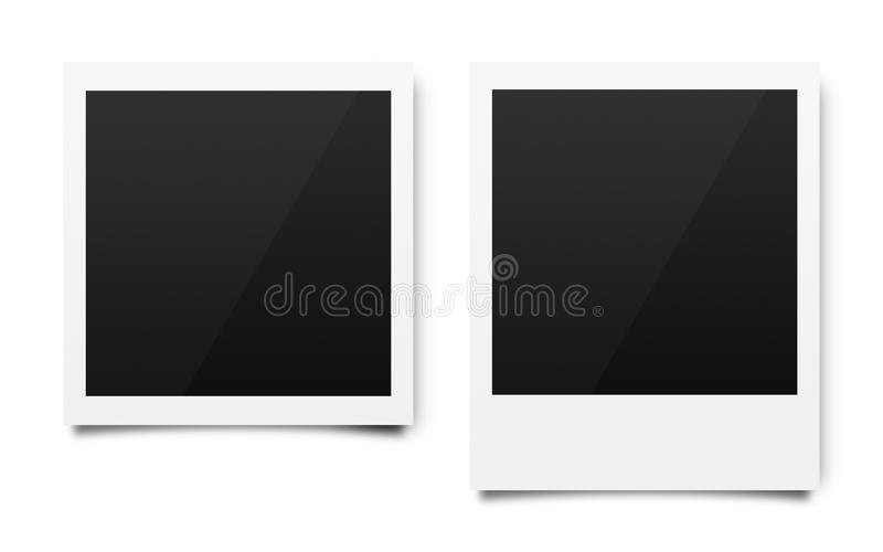 Empty polaroid photo frames mockups template on a pure white background for putting your pictures. Paper sheet for printing images. Or recording picture of film royalty free stock photo