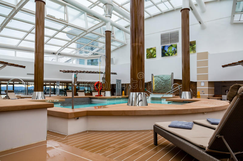 Empty Pool in Cruise Ship Solarium royalty free stock photos