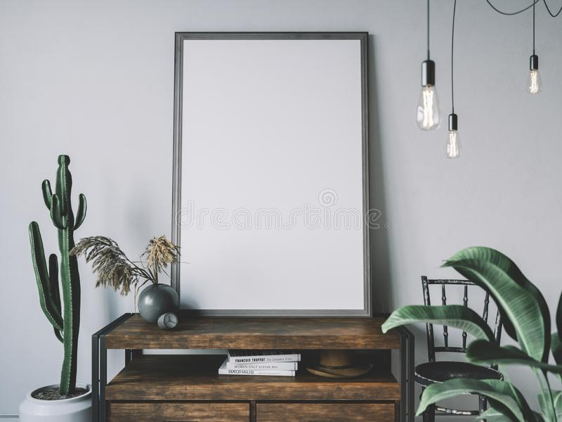 Empty poster frame in cozy interior. Frame mockup. Frame mockup. Empty poster frame in cozy interior stock photography