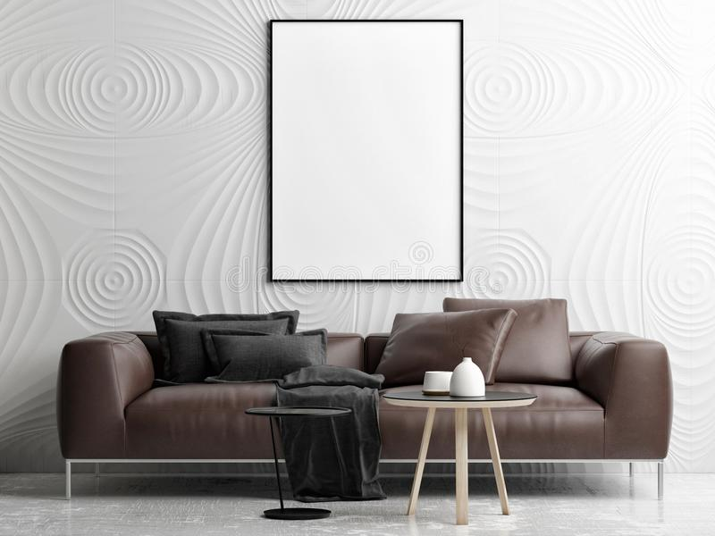 Empty poster mock up living room, your work here stock illustration