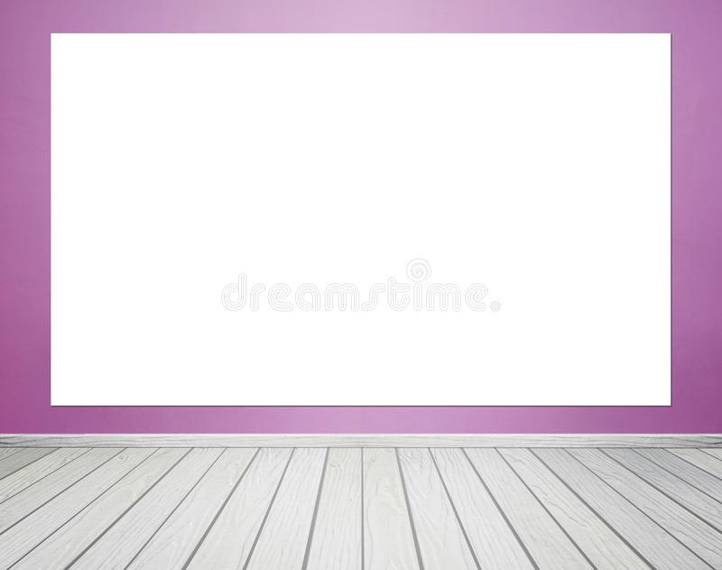 Empty poster in room interior with concrete wall and floor backg. Empty white poster in room interior with concrete wall and floor background royalty free stock image