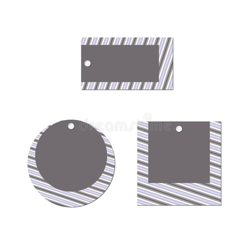 Empty price tag layout Set Rectangular round square banner of stripes lines on a white background Modern design element of ads royalty free illustration
