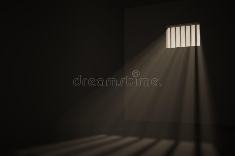 Empty prison cell. Light rays shining through window in jail. 3D rendered illustration stock illustration