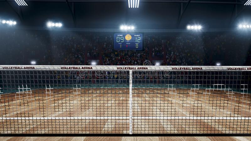 Empty professional volleyball court in lights. 3d rendering stock illustration