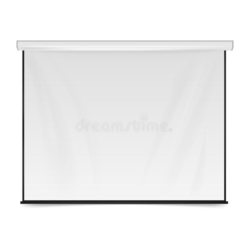 Empty Projection screen. Blank Presentation board. Blank whiteboard for conference isolated on white background. Vector illustrati stock illustration