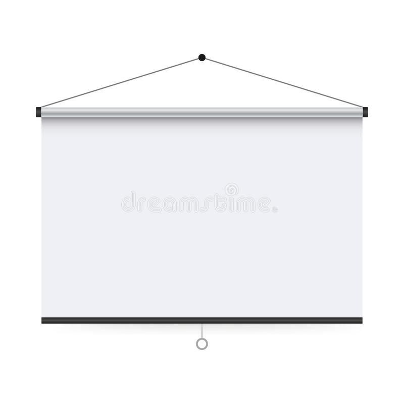 Empty Projection screen, Presentation board, blank whiteboard for conference. royalty free illustration
