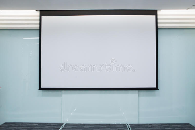 Empty Projection screen, Presentation board stock photo