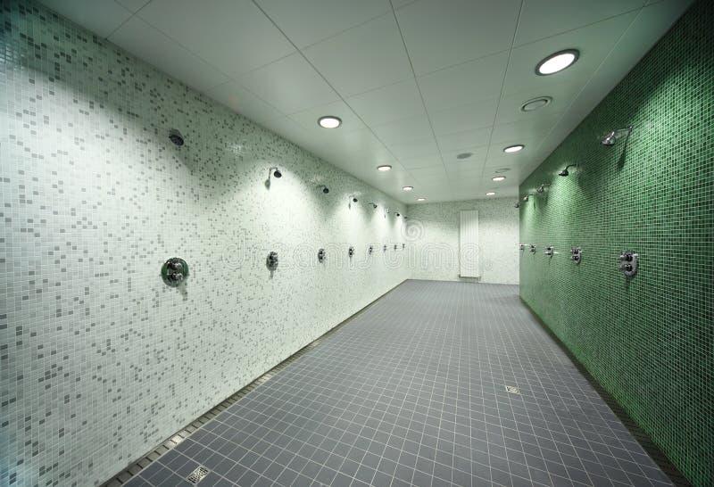 Empty public shower room royalty free stock photo