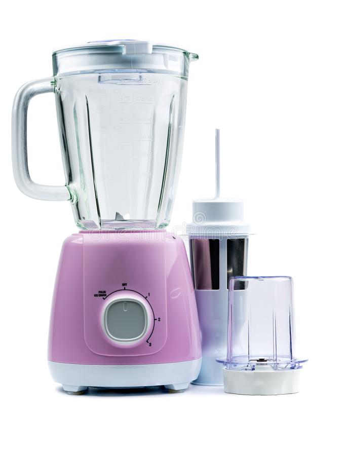 Empty purple electric blender isolated on white background with space. Machine for healthy lifestyle. Kitchen appliances. Empty purple electric blender isolated stock photo