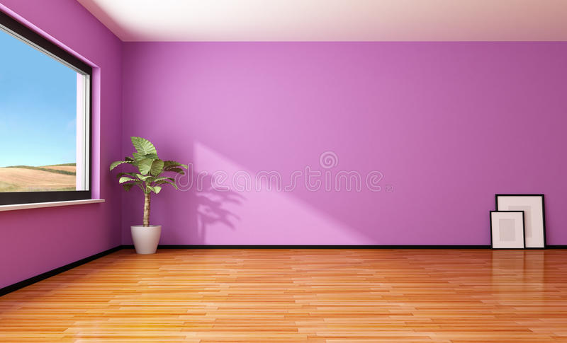 Empty Purple Interior Royalty Free Stock Image