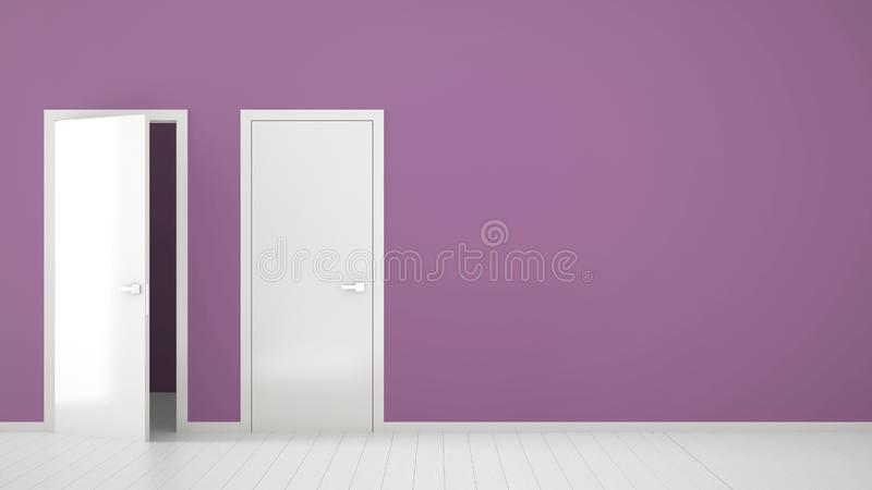 Empty purple room interior design with open and closed doors with frame, door handles, wooden white floor. Choice, decision, stock illustration