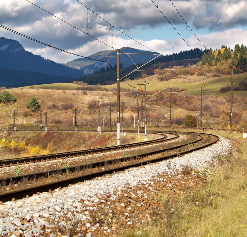Empty railroad. In Liptov region, Slovakia royalty free stock photos