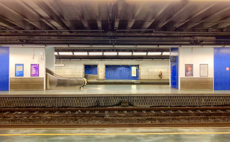 Empty railroad and platform of the Brussels-Luxembourg railway station. In the European center of Brussels royalty free stock photography