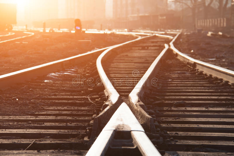 Empty railroad tracks. At sunset stock photo