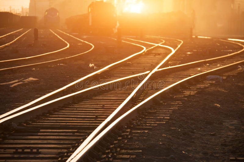 Empty railroad tracks. At sunset royalty free stock photography