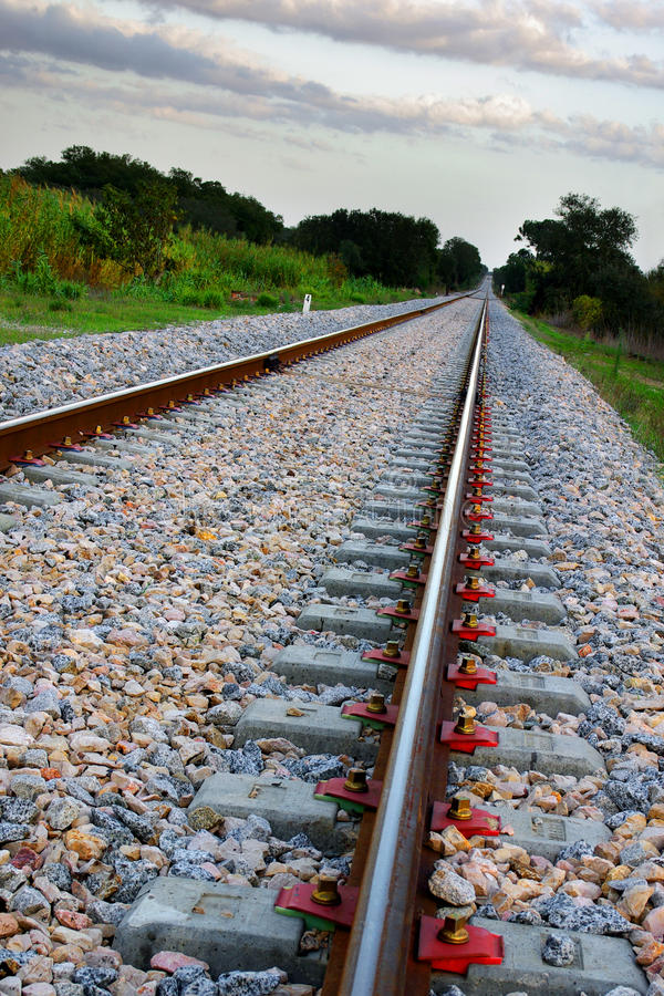 Empty Railway. In a countryside landscape with tilted horizon stock photography
