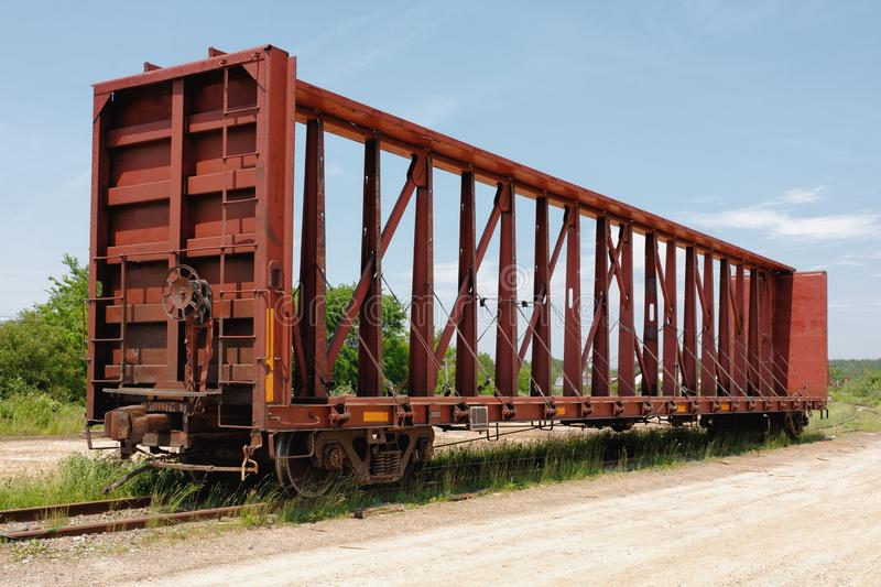Empty Railway Freight Car. On side track royalty free stock image