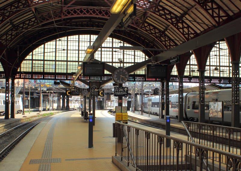 Empty railway platform with ticket machines