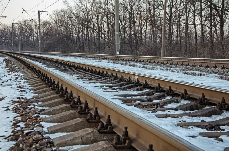 An empty railway road. In Russia royalty free stock photography