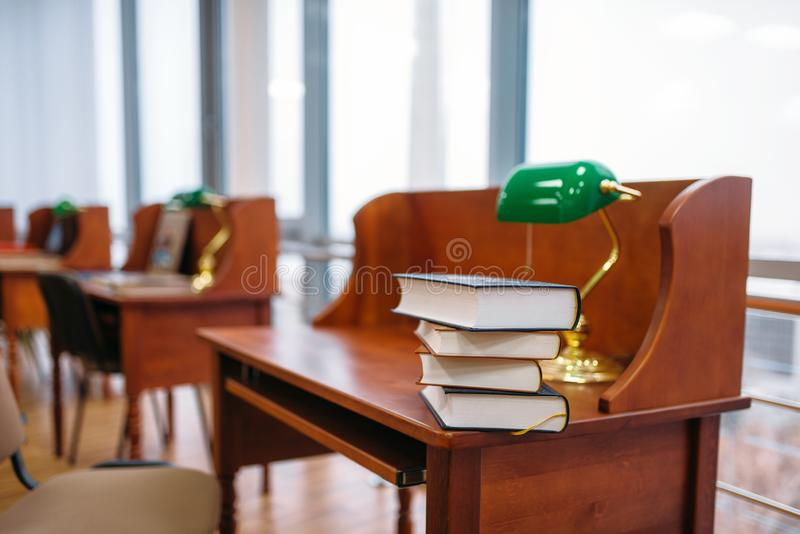 Empty reading room, interior of university library stock images