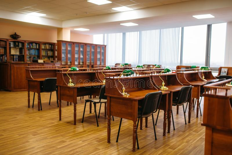 Empty reading room, tables in library, nobody royalty free stock photo
