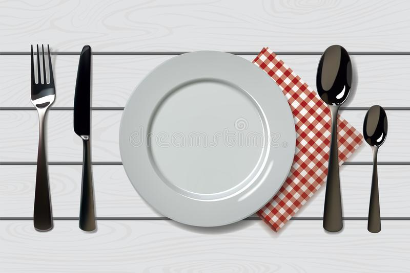 Empty realistic plate with spoon, knife and fork on a wooden background with red napkin. Cutlery on a wood table. For vector illustration
