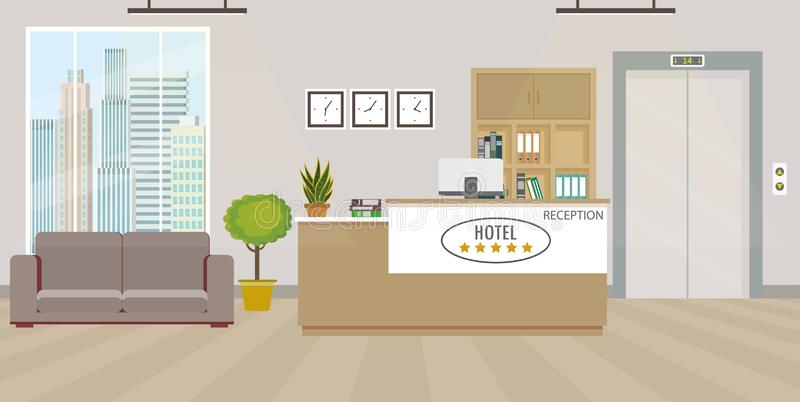 Empty reception interior with furniture vector illustration