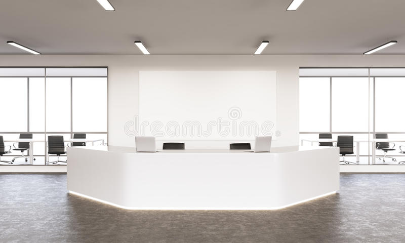 Empty reception. Empty white reception with laptops, big white board on wall behind, windows and meeting rooms at background. Concept of reception. Mock up. 3D vector illustration