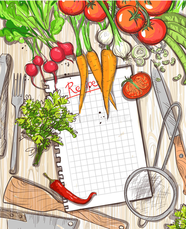 Empty recipe list frame with healthy organic vegetables and kitchen utensil stock illustration