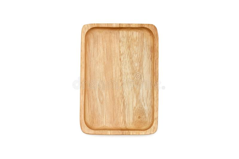 Empty rectangle wooden plate, isolated on white background. royalty free stock photography