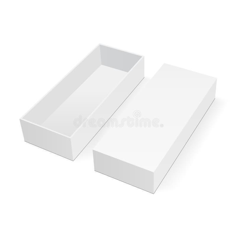 Empty rectangular box mock up with lid royalty free illustration