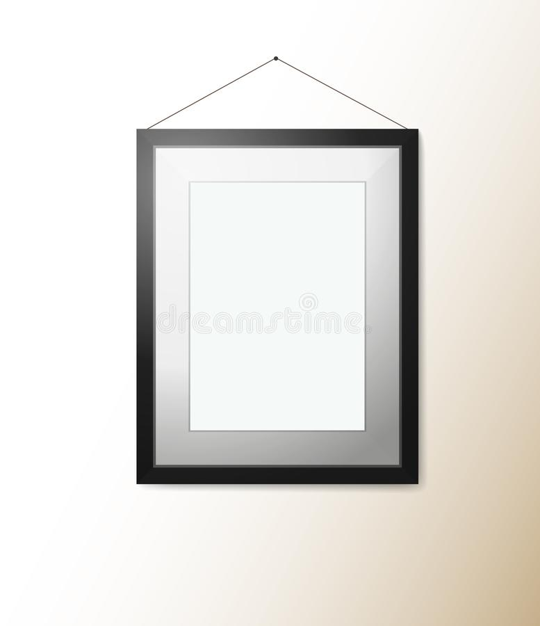Empty rectangular picture frame with shadow on wall royalty free illustration
