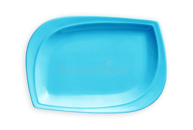 Empty rectangular plate, Exotic blue plate, View from above isolated on white background with clipping path stock images