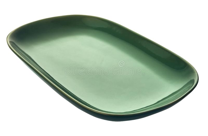 Empty rectangular plate, Green ceramics plate, isolated on white background with clipping path, Side view. Empty rectangular plate, Green ceramics plate royalty free stock photos
