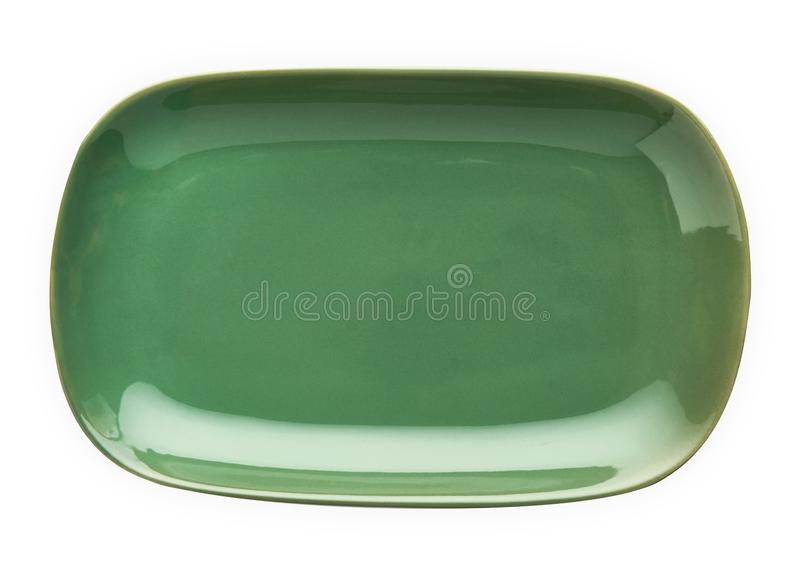 Empty rectangular plate, Green ceramics plate, View from above isolated on white background with clipping path. Empty rectangular plate, Green ceramics plate royalty free stock photo